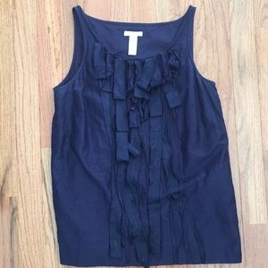 Loft Navy tank with draped ribbons down the front